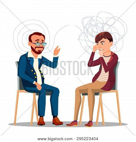 Patient At Psychiatry Counseling, Psychotherapy Cartoon Character. Therapy, Counseling Isolated Clip