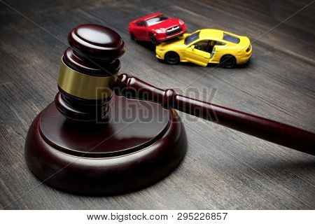 Hammer Of The Judge And Two Collided Cars, Accident,
