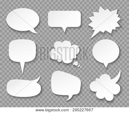 Paper Speech Bubbles. White Blank Thought Balloons, Shouting Box. Vintage Speech And Thinking Expres
