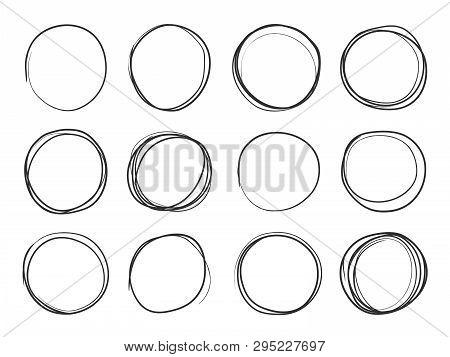 Hand Drawn Circles. Round Doodle Loops, Circular Sketch Highlights. Circular Scribble Black Pencil S