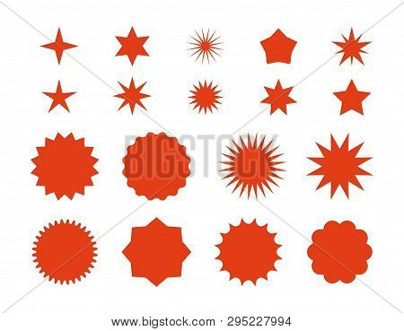 Star Burst Stickers. Red Retro Sale Badge, Flat Price Tags Silhouettes, Starburst Labels Graphic Tem