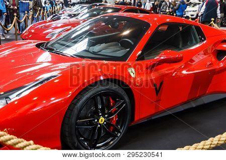 Prague, Czech Republic - April 13th 2019: Ferrari At Autoshow Pva Expo Praha Letnany 2019.