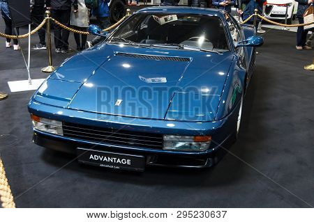 Prague, Czech Republic - April 13th 2019: Dark Blue Ferrari Testarossa At Autoshow Pva Expo Praha Le