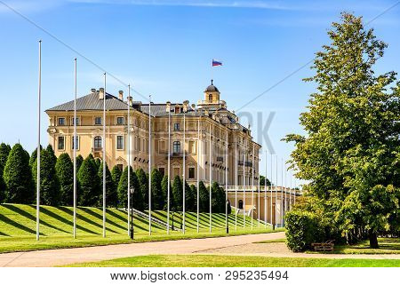 Saint Petersburg, Russia - August 9, 2018: Konstantinovsky Palace In Strelna. The State Complex The