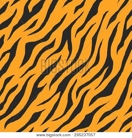 Illustration Of Seamless Animal Print Pattern Texture Background. Realistic Stripe Of Tiger Skin Col