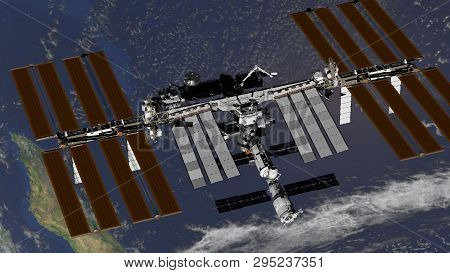 International Space Station Iss Revolving Over Earths Atmosphere. Elements Of This Image Furnished B