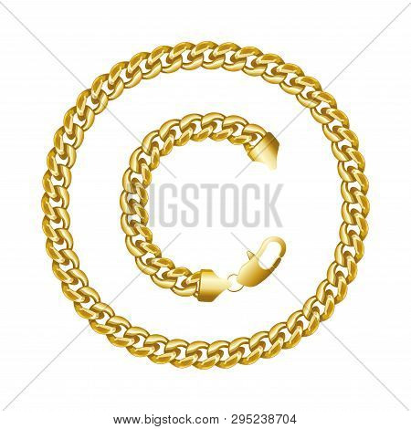 Copyright Symbol Icon Made Of Gold Chain.