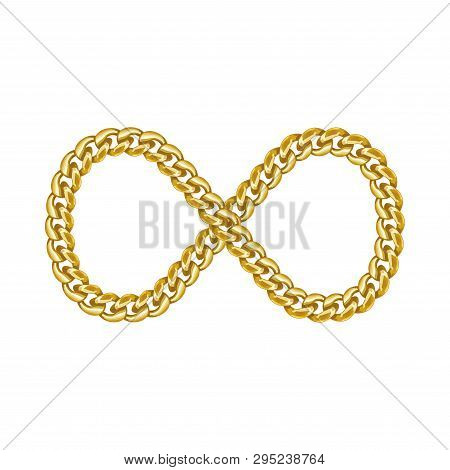 Infinity Sign Symbol Icon Made Of Gold Chain.