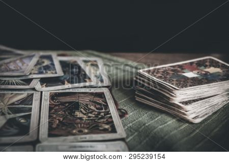 Bruvoll, Norway - March 23, 2011: Occult Mystic Old Tarot Cards Laying On Table For A Magical Pagan