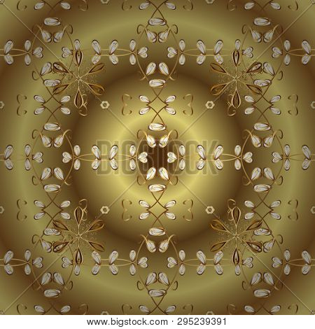 Vector Golden Floral Ornament Brocade Textile And Glass Pattern. Gold Metal With Floral Pattern. Yel