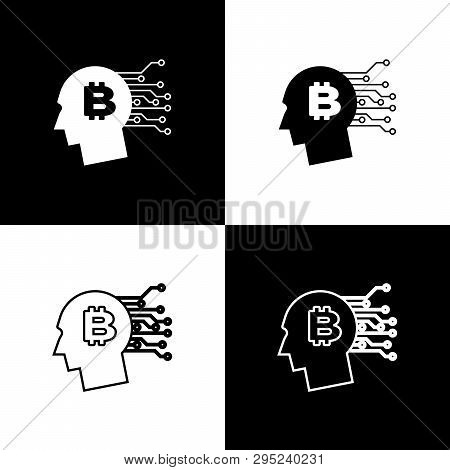 Set Bitcoin Think Icons On Black And White Background. Cryptocurrency Head. Blockchain Technology, B