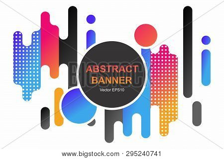 Modern Style Abstraction With Composition Made Of Various Rounded Shapes In Color. Vector Banner