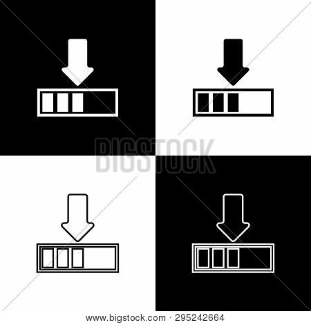 Set Loading Icons Isolated On Black And White Background. Download In Progress. Progress Bar Icon. L