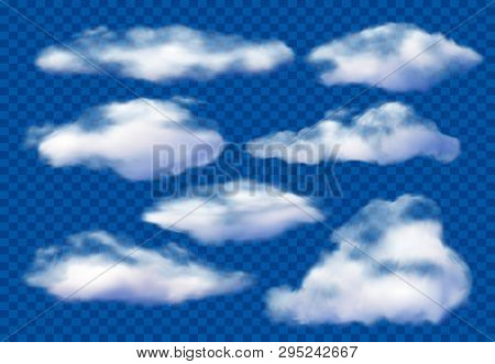 Realistic Clouds. Cloudy Sky, Fluffy Cloud And White Vapor Clouds Isolated 3d Vector Illustration Se