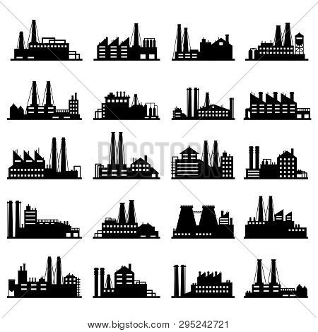 Industry Business Buildings. Industrial Warehouse, Manufacturing Factory And Factories Exterior Silh