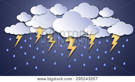 Summer Thunderstorms. Storm Clouds, Thunderstorm Lightning And Rainy Weather. Thunder And Lightnings
