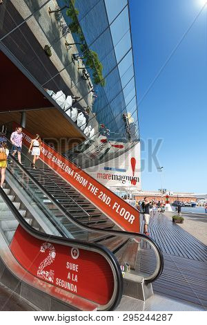 Barcelona, Spain - Jun 9, 2014: Exterior Of The Maremagnum Or Mare Magnum, Large Shopping Mall, Leis