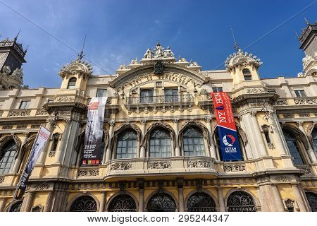 Barcelona, Spain - June 9, 2014: Close-up Of The Old Customs Building Of The Port Of Barcelona (port