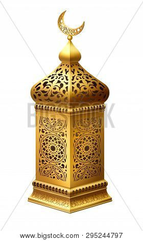 Illustration Of Traditional Arabian Lantern On White Background. Eps 10 Contains Transparency.