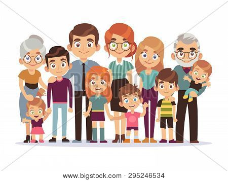 Big Family Portrait. Happy People Character Lifestyle Mother Father Children Grandparents Teenagers