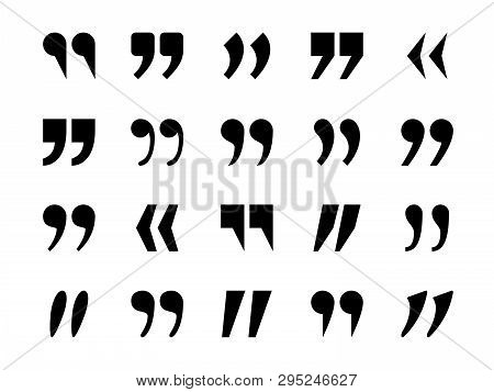Quotes Marks. Quotation Marking Quote Mark Comma Double Commas Speech Punctuation Text Excerption Ty