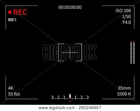 Camera Display. Viewfinder Recording Focusing Camera Video Screen Capture Photo Movie Lines Frame Fi