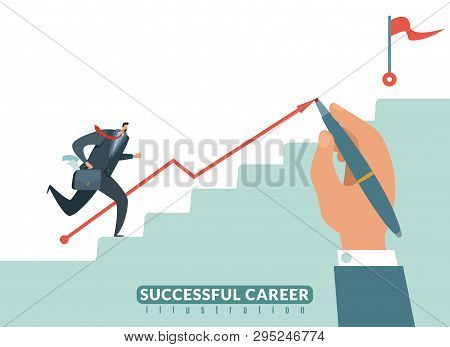 Stair To The Goal. Path To Success Business Career, Businessman Stairway To Target And Growth Succes