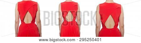 Red long evening dress isolated on white
