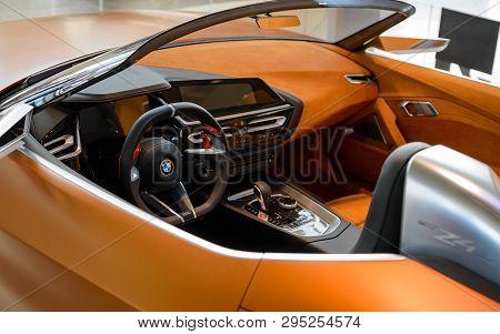 Munich, Germany - April 21, 2018: Interior Of Concept Cabriolet Sportscar Bmw Z4. The New Third Gene