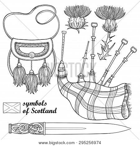 Vector Set Of Outline Scottish Symbols: Long Dagger Or Dirk, Bagpipe, Sporran And Thistle Flower In