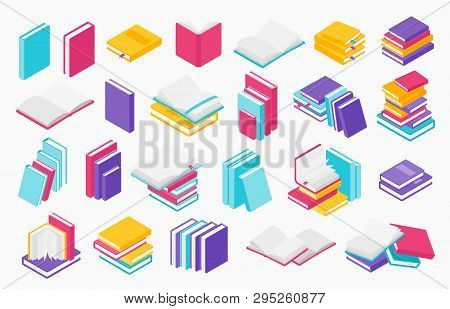 Flat Books Icons. Stack Of Open And Close Books, Magazines Textbooks And Brochures, Vector Group Of