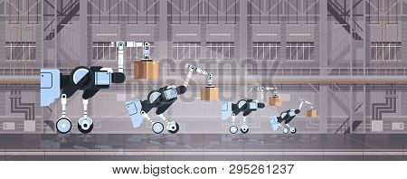Robotic Workers Loading Cardboard Boxes Hi-tech Smart Factory Warehouse Interior Logistics Automatio