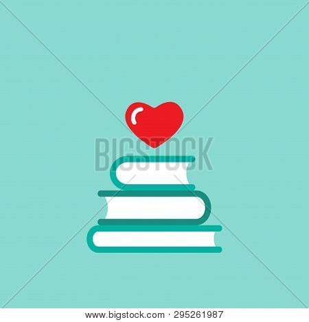 Stack Of Books With Red Heart Flying Out. Isolated On Blue Background. Bibliophile Flat Icon. Vector