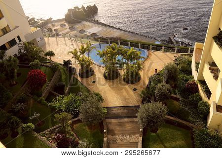 Top View Of A Cozy Patio Near The Ocean On The Island Of Madeira. Cropped Shot, Horizontal. Concept