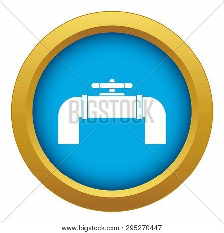 Industrial Pipe Valve Icon Blue Isolated On White Background For Any Design