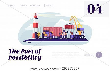 Global Maritime Logistic. Shipping Port With Harbor Crane Loading Container And Seaport Workers Carr