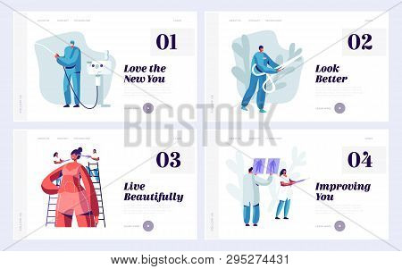 Set Of Website Landing Page Templates For Beauty Medical Or Plastic Surgery Clinic. Doctor And Patie