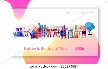 Senior People Creative Hobby. Elderly Characters Spending Time In Nursing Home Listening Music, Pain