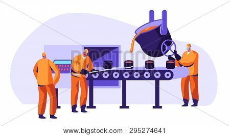 Metallurgy Industry Workers In Uniform Smelting Metal In Big Foundry And Pouring Hot Molten Steel Or