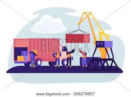 Shipping Port With Harbor Crane Loading Containers To Marine Freight Boat. Seaport Workers Carry Box