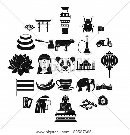Mysteries Of Asia Icons Set. Simple Set Of 25 Mysteries Of Asia Icons For Web Isolated On White Back