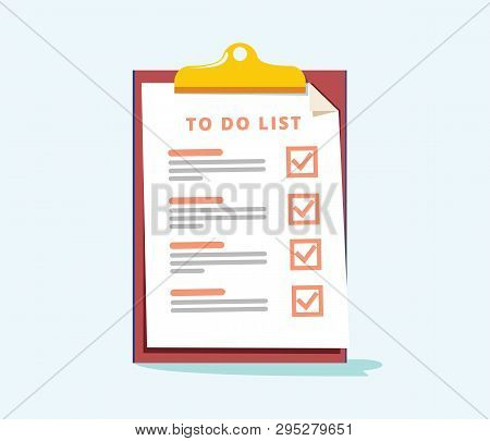 To Do List Or Planning Concept. Paper Sheets With Check Marks Icon, All Tasks Are Completed. Abstrac