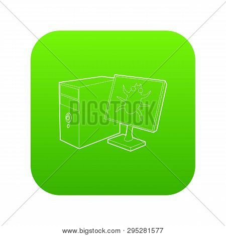 Bug On The Monitor Of Personal Computer Icon Green Isolated On White Background