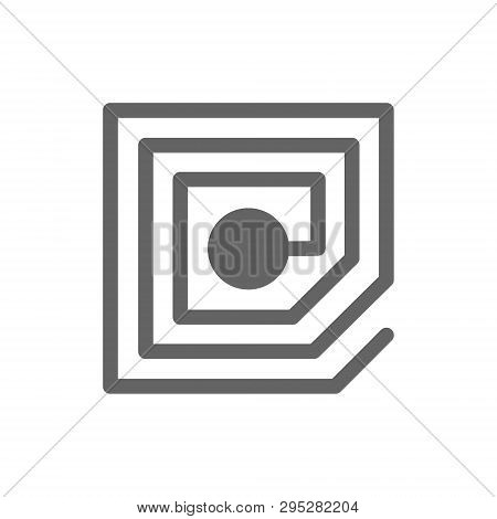 Vector Wireless Chip And Rfid Line Icon.