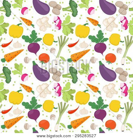 Seamless Pattern From Fresh Vegetables Radishes, Carrots, Tomatoes, Beets, Shallots On A White Backg