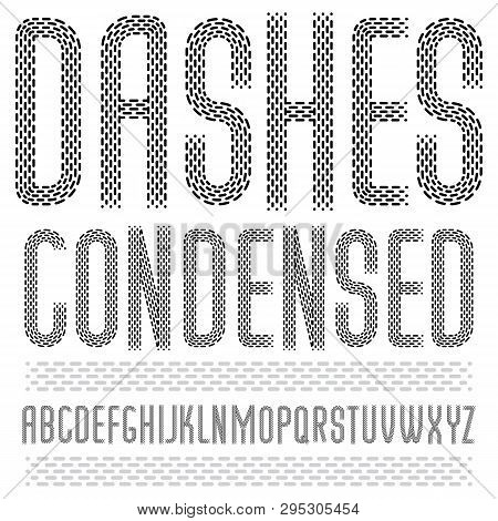 Set Of Cool Vector Upper Case English Alphabet Letters Isolated. Rounded Condensed Retro Type Font,