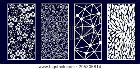 Set Of Decorative Laser Cut Panels. Vector Illustration.