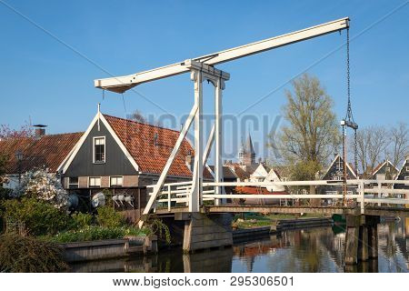 Edam, Netherlands - April 7, 2019: Kwakelbrug - Kwakel Draw Bridge Is An Old Bridge With Counter-bal