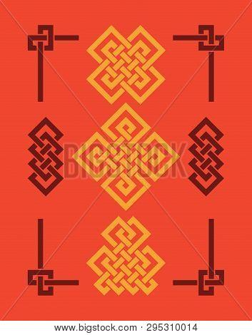 Endless Auspicious Knots Set. China Ornament - Symbol Of Tibet, Eternal, Buddhism And Spirituality.