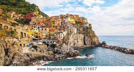 Manarola Village, Cinque Terre Coast Of Italy. Manarola A Beautiful Small Town In The Province Of La